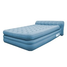 Coleman Aerobed Mini Headboard Queen Size Air Mattress Bed with Quiet Comfort firmness adjusting.
