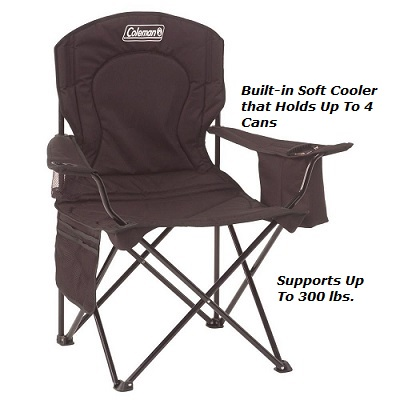 Padded Coleman Camping Oversized Quad Chair with Cooler Pouch and Cup Holder with 300 lbs. weight capacity and Lumbar Support.
