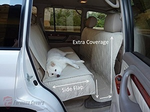 Deluxe Quilted and Padded Seat Cover for pets with seat belt holes, Fits backseat of car or hatch area of SUV, Truck back area.