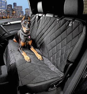 Ideal Dog Car Seat Cover with the Best Nonslip Rubber Backing and Seat Anchors for Cars, Trucks, SUVs cloth or leather seats.