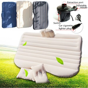 Inflatble Car Air Bed Mattress for Backseat with Pump and Two Inflatable Pillows for Car, SUV, Minivan.