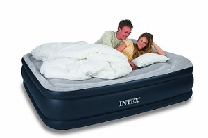 Intex Deluxe Pillow Rest Blow Up Inflatable Air Mattress Queen Air Bed for Sleeping Comfort.
