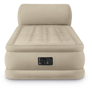 Intex Twin Size 18 inch Raised DuraBeam Ultra Plush Inflatable Air Bed Mattress with Headboard and Built-in Pump.