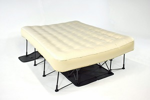 Ivation EZ Air Bed Blow Up Mattress Raised on Stand, uses standard queen size sheets and is great guest bed solutions.