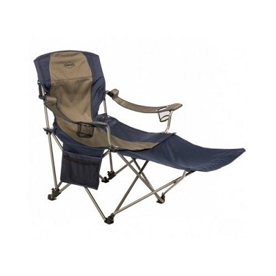 Kamprite Heavy Duty Folding Camp Chair with High Back and Detachable Foot Rest.