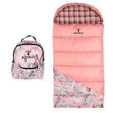 King's Pro Hunter Junior 25-degree F Pink Shadow Camo Youth Sleeping Bag for Girls.