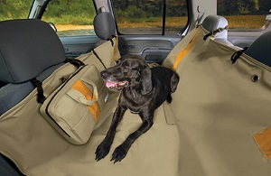 Kurgo Wander Dog Hammock Seat Cover Khaki Orange, waterproof, washable and stain resistant.