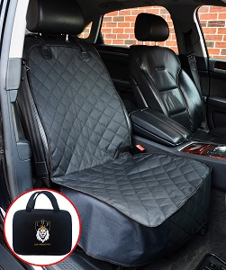 Lion Heart Car Front Bucket Seat Cover for your dogs, fits front seat of most cars, trucks, suv, leather or cloth seats, waterproof fabric.