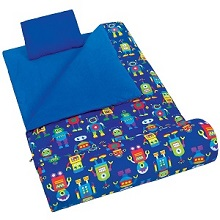 Wildkin Olive Kids Robots Sleeping Bag with Head Pillow For Children.