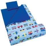 Favorite Olive Kids Train, Planes and Trucks Sleeping Bag for toddlers and young boys with matching pillow, prints of trains, planes and trucks on a blue background.