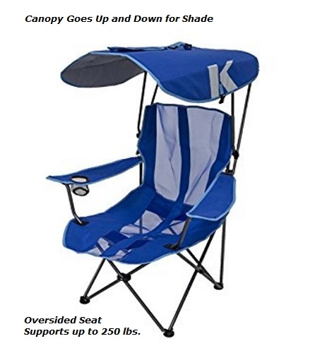 Kelsyus Oversized Folding Portable Camping Chair with Shade Canopy.