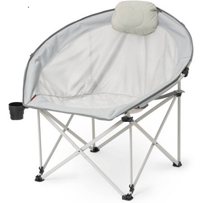 Ozark Trail Oversized Round Cozy Camp Chair with mesh seat and back and attached headrest.