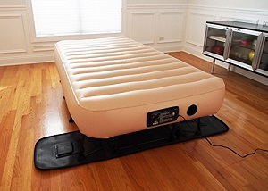 upscale simplysleeper hideaway guest twin air bed with integrated travel case and stand with legs