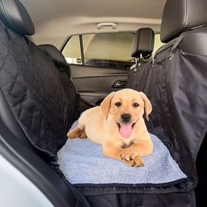 The Ultimate Waterproof Non-Slip Pet Back Seat Cover Dog car Hammock Back Seat and soft washable fleece dog bed - 2 Piece Set, Leather Reinforced Straps.