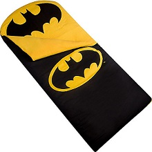 Wildkin Sleeping Bag for Sleepover with Batman Emblem for kids.