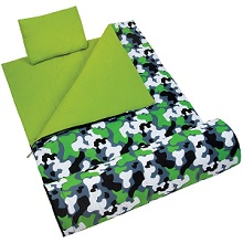 Wildkin Camouflage Sleeping Bag for boys, lined with 100 percent cozy cotton flannel.