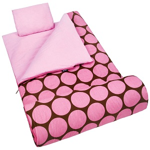 Wildkin Original Sleeping Bag Big Dots Pink Kids Sleeping Bag Pillow