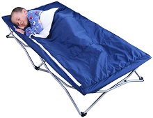 Regalo My Cot Deluxe With Sleeping Bag Navy Portable Bed Toddler Child Folding