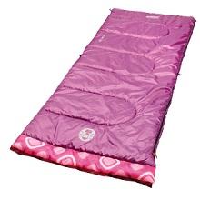 Coleman Youth Rectangular 45 Degree Sleepover Sleeping Bag For Kids Purple Pink Pattern