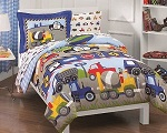 Trucks, Tractors, Cars Boys Blue and Red 5-Piece Twin Comforter Sheet Set